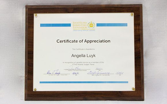 Rochester Area Business Ethics Foundation – Certificate of Appreciation 2015