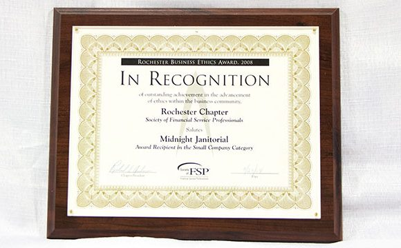 Rochester Business Ethics Award – Small Company, 2008